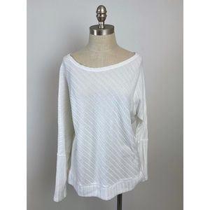 JUICY COUTURE White Ribbed Dolman Sleeve Top XL